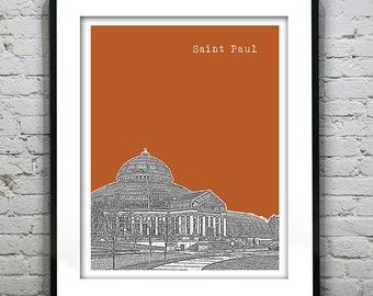 Saint Paul Minnesota Poster Art Skyline Print Mn Version 4