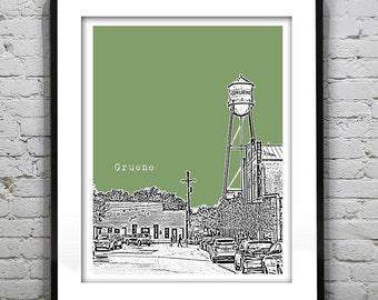 Gruene Skyline Poster Art Print Texas TX Dancehall Version 1