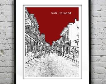 New Orleans Bourbon Street Poster Art Louisiana Skyline Print French Quarter Version 18