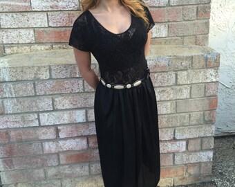 Vintage Black Lace Top Lingerie Dress