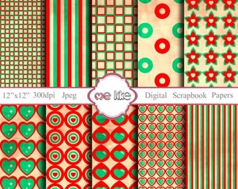 Digital Scrapbooking Red and Turquoise Paper Pack  -INSTANT DOWNLOAD-Digital Paper for Personal or Commercial Use - 10 Sheets - 300 DPI -