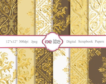 Digital Gold Damask Paper Pack  -INSTANT DOWNLOAD-Digital Paper for Personal or Commercial Use - 12 Sheets - 300 DPI -