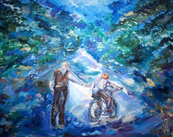 Original Art Print. Learning to ride a bicycle. Original oil painting by BrandanC .