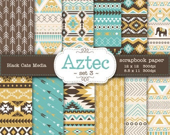 Aztec tribal ethnic digital Printable Papers 12 x 12 in AND 8.5x11 in  - mustard and brown - invitations, scrapbooking, instant download