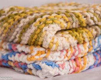 Knit Cotton Washcloths, Cotton Dishcloths, 100% Cotton, Arizona and Guacamole