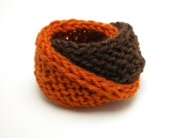 Double Mobius Bracelet In Pumpkin & Brown Wool