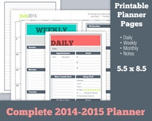 Complete Printable Planner Pages 2014 2015  - Daily, Weekly, Monthly, Notes - Half Letter 8.5 x 5.5 Fresh Enthusiasm