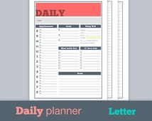 Daily Printable Planner Pages 2014-2015 - Great for school, work, life Letter 8.5 x 11 - Fresh Enthusiasm