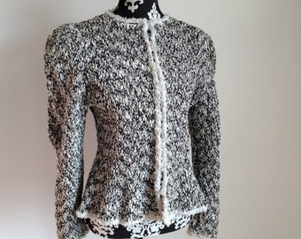 "Vintage ""Estelle Gracer"" Black and White Fiber Art Knit Jacket"