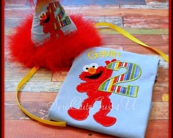 Full Body Elmo Birthday Number Shirt and Hat Set