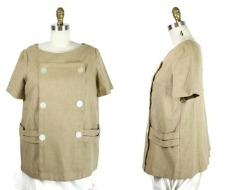 1960s Brown Woven Maternity Blouse / 60s Mod Back Button Twill Top