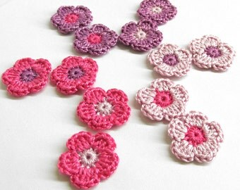 Crochet flower appliques, 12 pc., pink purple mix, 0.8 inches handmade crocheted tiny patches
