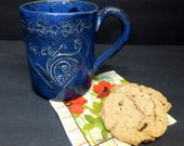 Blue Scrolled Heart Coffee Mug wtih Lace Top