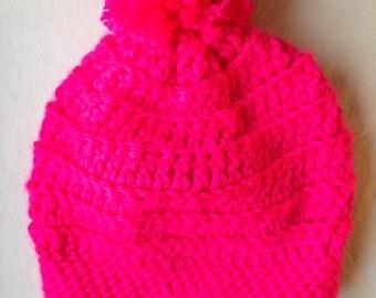 NEON Pink Crochet Hat with Pom Pom