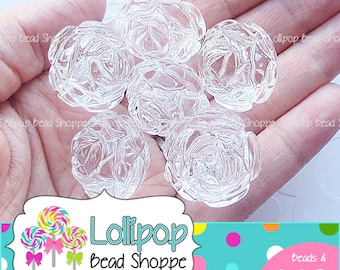 CLEAR Round ROSE Beads 24mm Beads Chunky Beads Large Rose Beads Acrylic Plastic Flower Bead 6-ct Bubblegum Bead Necklace Bubble Gum Beads