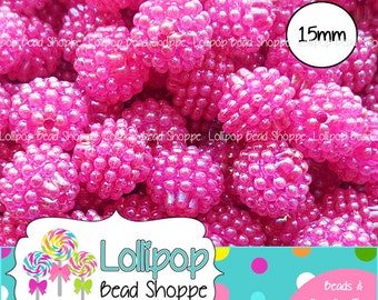 HOT PINK AB Berry Beads 15mm Raspberry Beads Lucite Beads Vintage Style Beads Chunky Beads Bubblegum Beads Acrylic Beads Bubble Gum Beads
