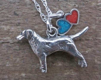 Labrador Necklace- Large Double Heart Sterling Silver Necklace