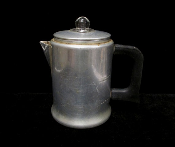 comet 2 cup coffee pot aluminum percolator with glass knob