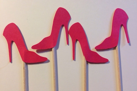 12 high heel shoe cupcake toppers die cut select a color