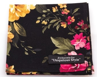 Large Black Floral Pocket Square