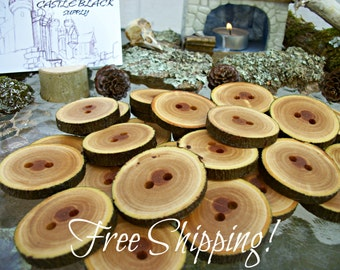 Tree Branch Buttons with Bark, 2 Holes - Handcrafted Large Wood Buttons APPLE Tree Buttons Real Tree Branch Buttons Set of 33 FREE SHIPPING!