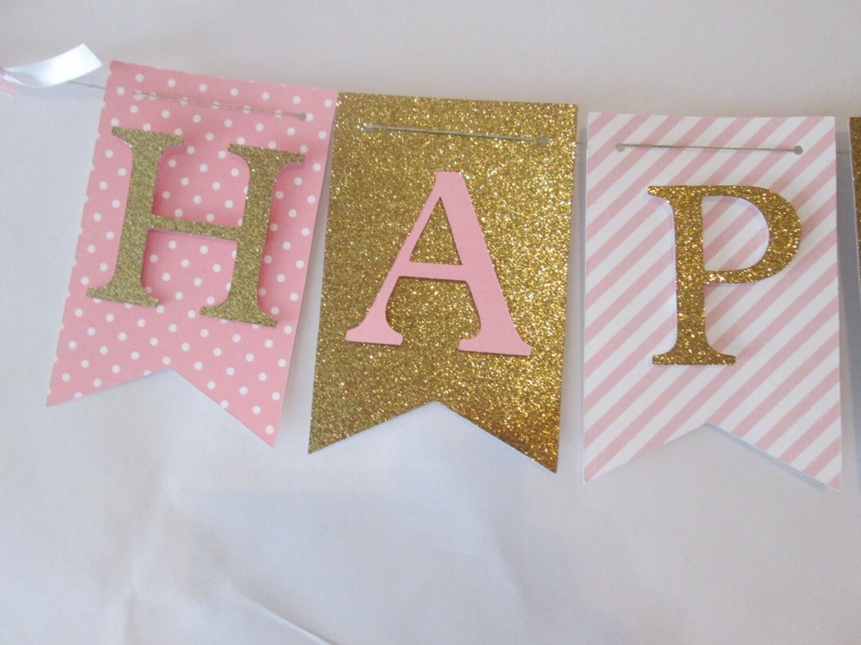 pink and glitter gold happy birthday banner first birthday