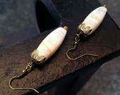 Light of Istanbul- White Banded Onyx Simple Drop Earrings