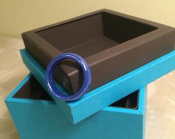 SALE-Vintage 90's Blue Glass Ring -Size 9