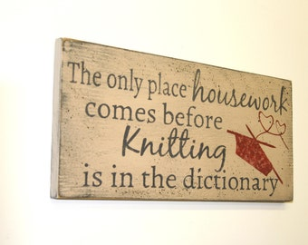Knitting Sign Distressed Wood Sign Primitive Wood Rustic Chic Decor Mothers Day Gift Housewarming Gift Knitters Gift