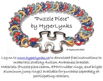 Autism Awareness HyperLynks Chainmaille Kit Puzzle Piece Bracelet