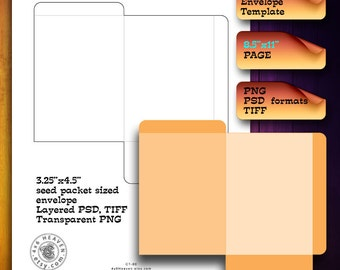 Seed Packet sized Envelope - DIY Digital Template CT-80 - layered psd, transparent png, Instant Download