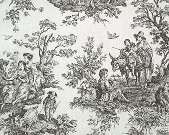Upholstery Fabric Drapery Fabric Black French Toile Fabric
