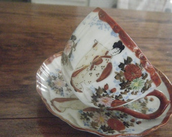 Antique SATSUMA Collectable CUP and SAUCER Hand painted Japan  perhaps fine porcelain geisha girl floral