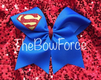 "Superman inspired Cheer Bow 3""  Blue - #200409386"