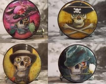 "1-1/2"" Twelve Sugar Skull Hat Dresser Knobs Series - Sugar Skull Knobs - Priced for one Knob."