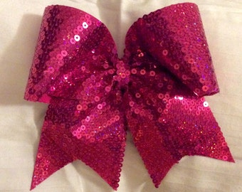 Hot Pink Holographic Sequin Cheer Bow