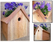 Reclaimed Cedar Hanging Birdhouse Planter Small Outdoor Garden Box Cottage Chic Decor Gardeners Wedding Housewarming Summer Party Gift Ideas