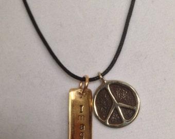 "Beatles Inspired Bronze ""Imagine Peace"" Necklace"