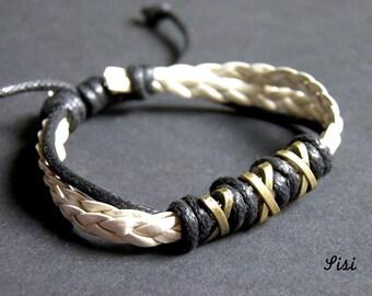 Leather white bracelet bronze pearl beads