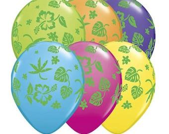 CLEARANCE! - Tropical Luau 11 inch Latex Balloons (Set of 12)