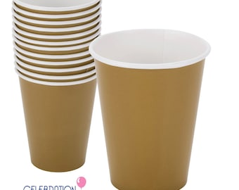 SALE - Metallic Gold Paper Party Cups (24 Count)