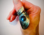 the Other Dimension. Sterling silver wraparound thumb ring / Psychic jewelry / adjustable labradorite ring by Invisigle