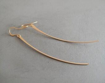 Long Gold Bar Dangle Earrings - Gift for her - Everyday Jewelry - Minimalist earrings