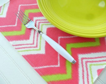 Fabric Placemats ~ Coral Placemats ~ Set of 4 ~ Cloth Place Mats ~ Table Linens ~ Chevron Placemats - Coral Lime Green Stripe