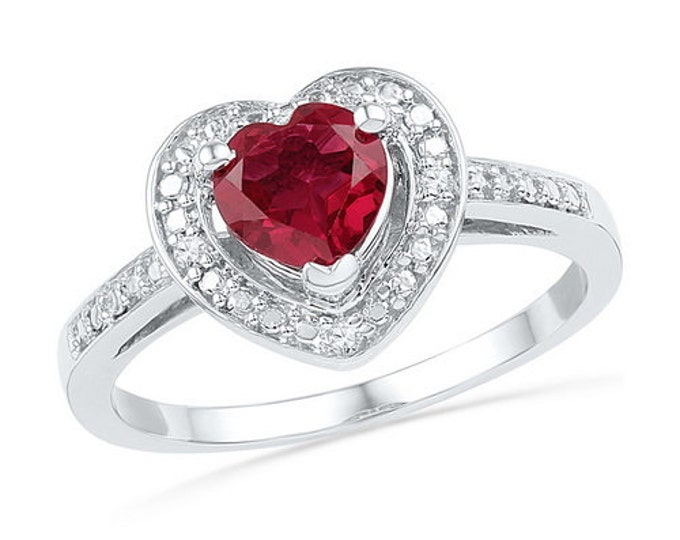 1.10ctw  Synthetic Ruby & Diamond Heart Sterling Silver Ring ~ Great Gift ~ Free Shipping