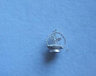 Vintage sterling silver flower basket charm  149