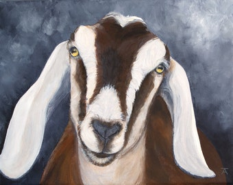 "Nubian Goat, ""ain't no sunshine when she goes away"" giclée print from original painting"