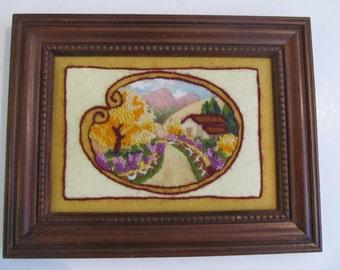 Art, Crewel Art, Embroidered Art, Embroidery, Framed Art, Crewel, Handmade Art, Original Art, Landscape Art