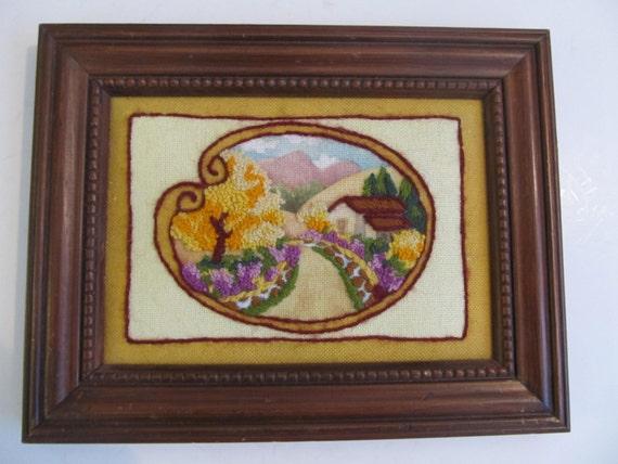Art Crewel Art Embroidered Art Embroidery Framed Art