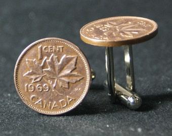 1969 Canadian Maple Leaf Penny Cufflinks Free Gift Bag 48 Anniversary Year Birthday 48th
